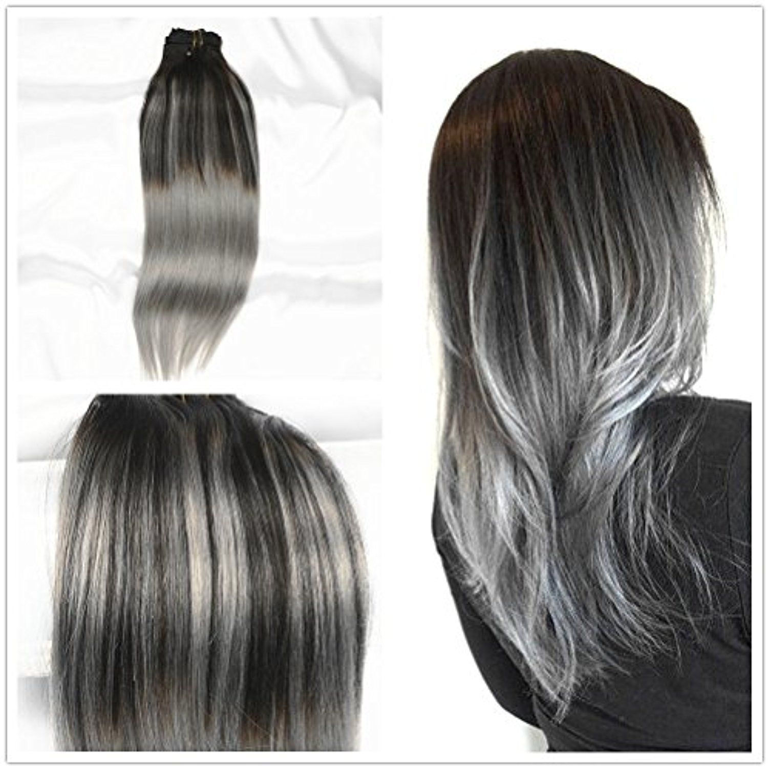Stella Reina Sombre Silver Balayage Clips In Hair Extensions 7pcs 120g Dip Dye Color Ombr Clip In Hair Extensions Short Hair Balayage Balayage Hair Blonde Long