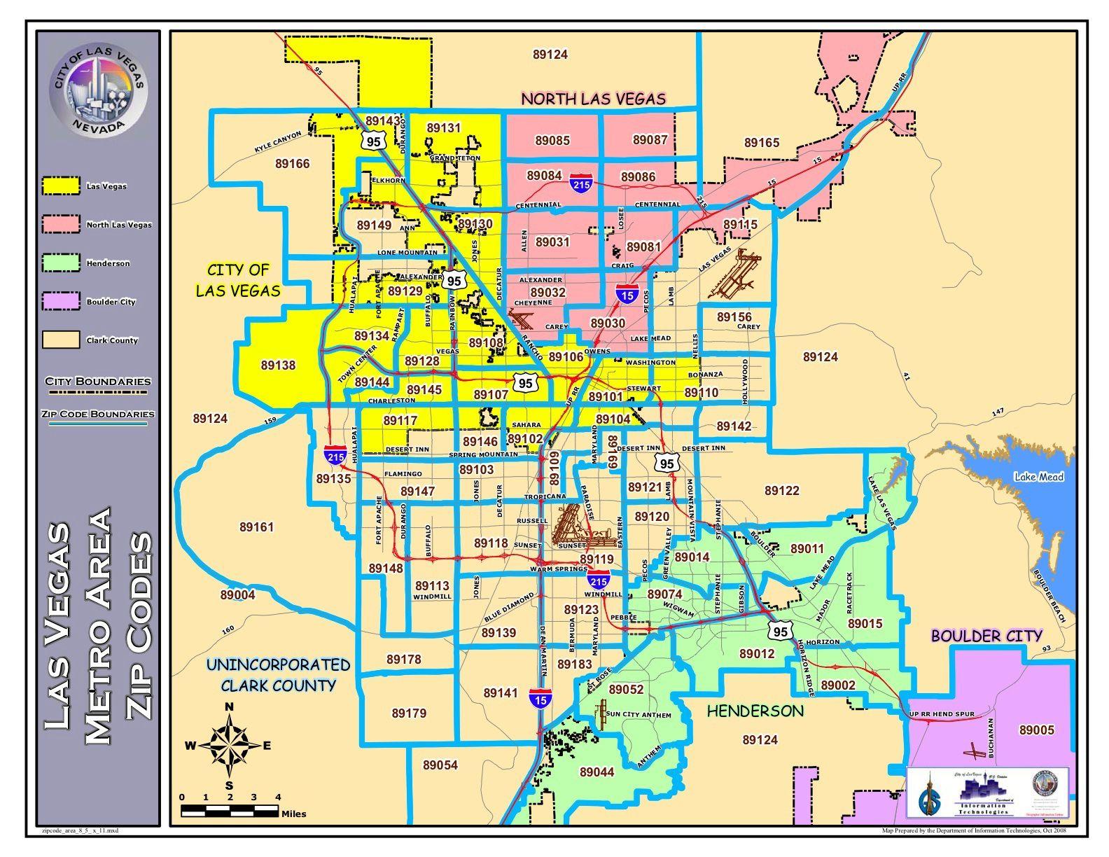 Las Vegas Zip Code Map Showing Information Las Vegas North Las Vegas Boulder City And Henderson With Images Las Vegas Map Vegas Maps