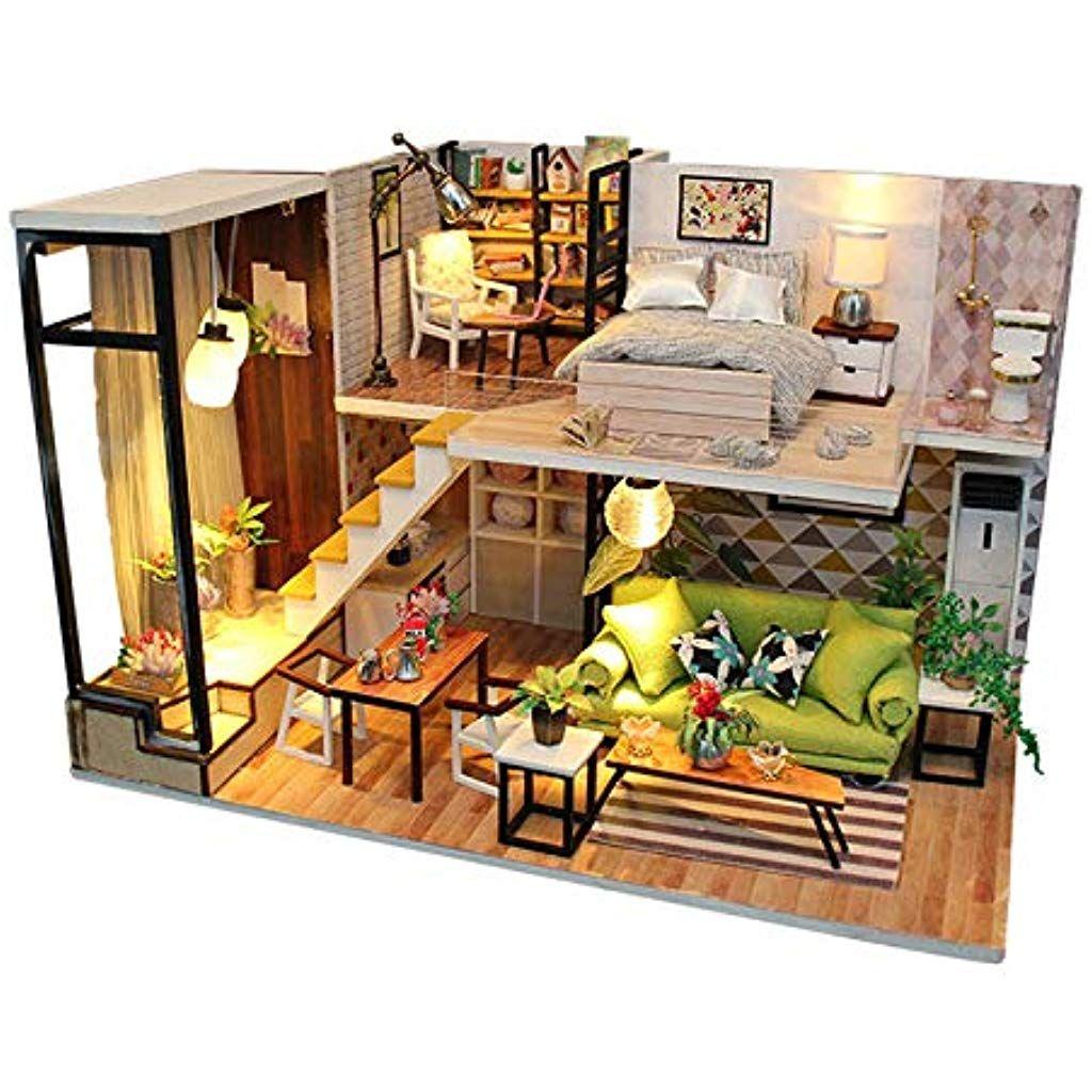 Jeteven Giochi Di Miniature Casa Delle Bambole In Legno Casa