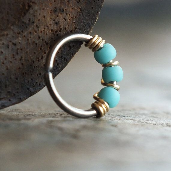 Gilded Turquoise Blue Nose Ring Made To Order Sold