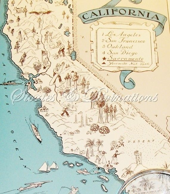 Vintage Maps - California 1930s - A Fun and Funky Little Picture Map