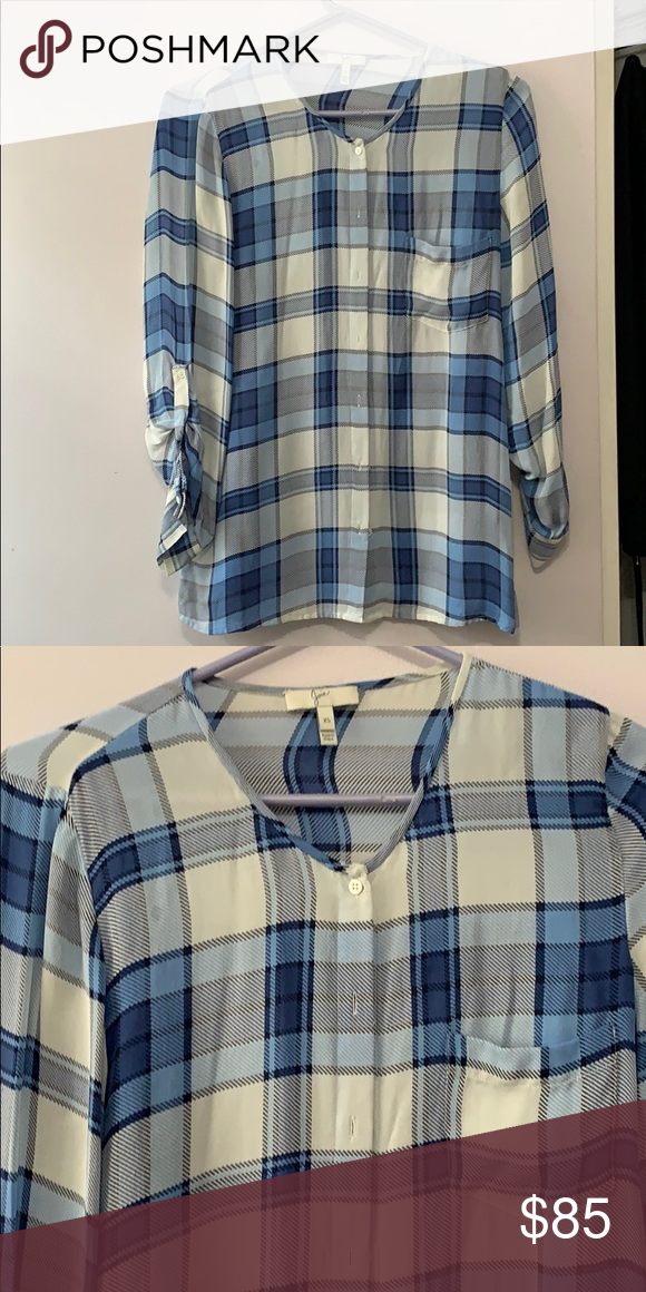 918ddd5e Joie plaid top Gorgeous blue and white 100% silk plaid top from the lovely  Joie brand. Size XS Joie Tops Button Down Shirts