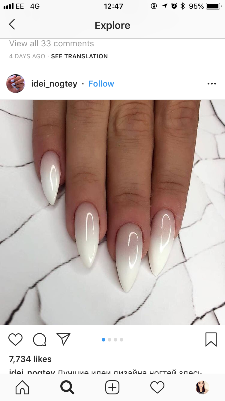 White Coffin Nail Insp Oval Nails Makeup Nails Designs Gel Nails