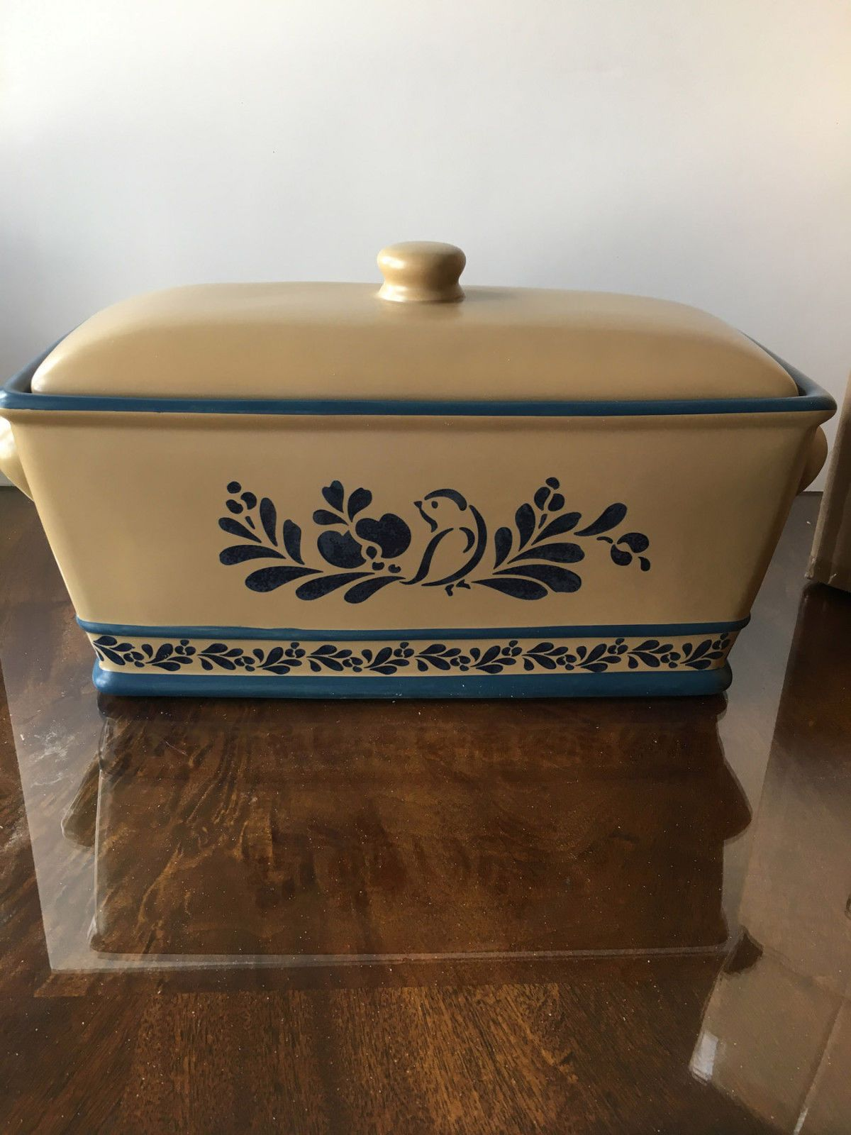 Pfaltzgraff Folk Art Ceramic Breadbox Kitchen Tools En