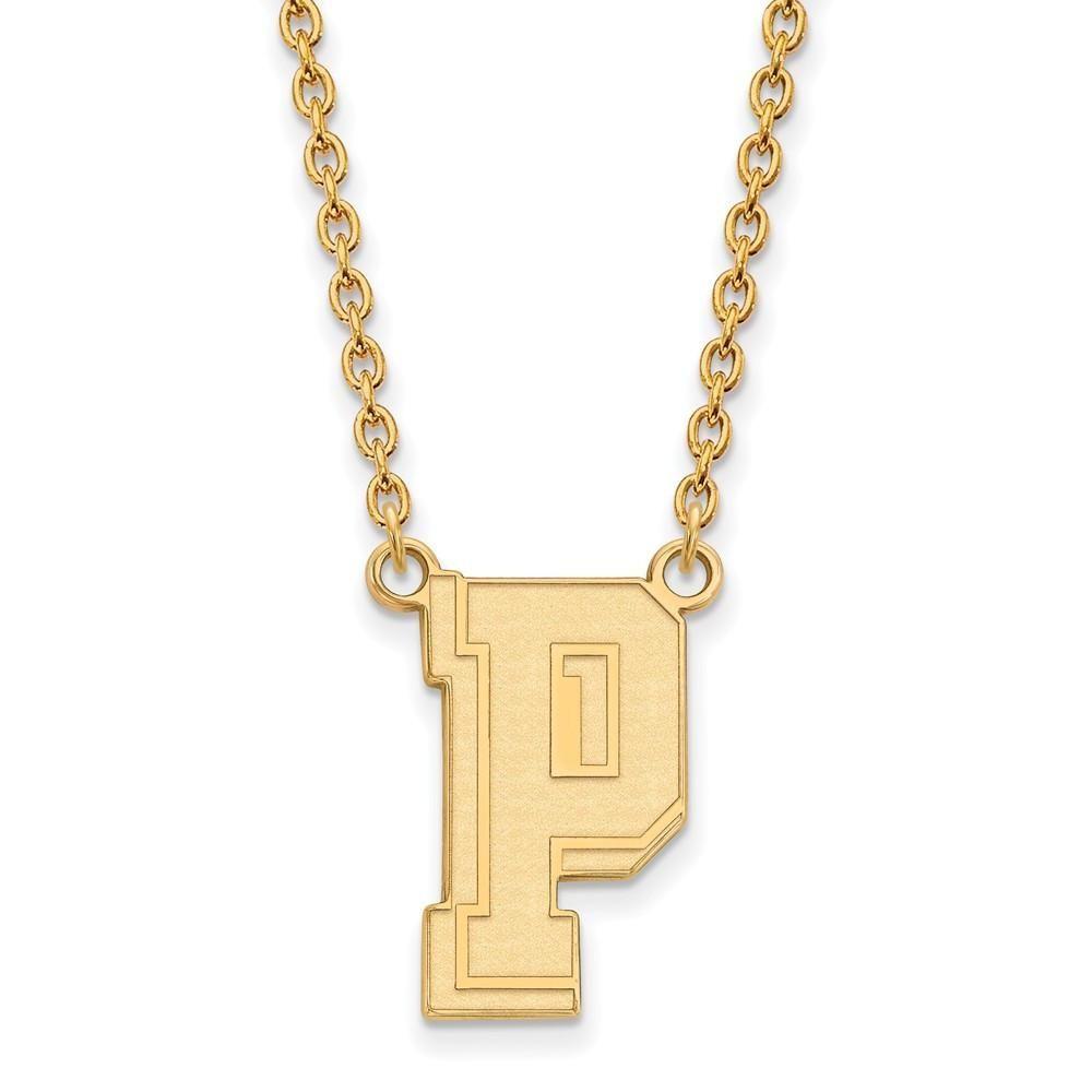 Sterling Silver w/GP LogoArt U of Pittsburgh Large Pendant w/Necklace
