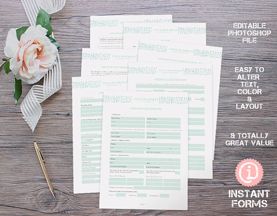 Photography Wedding Contract and Forms and Wedding by InstantForms - reservation forms in pdf