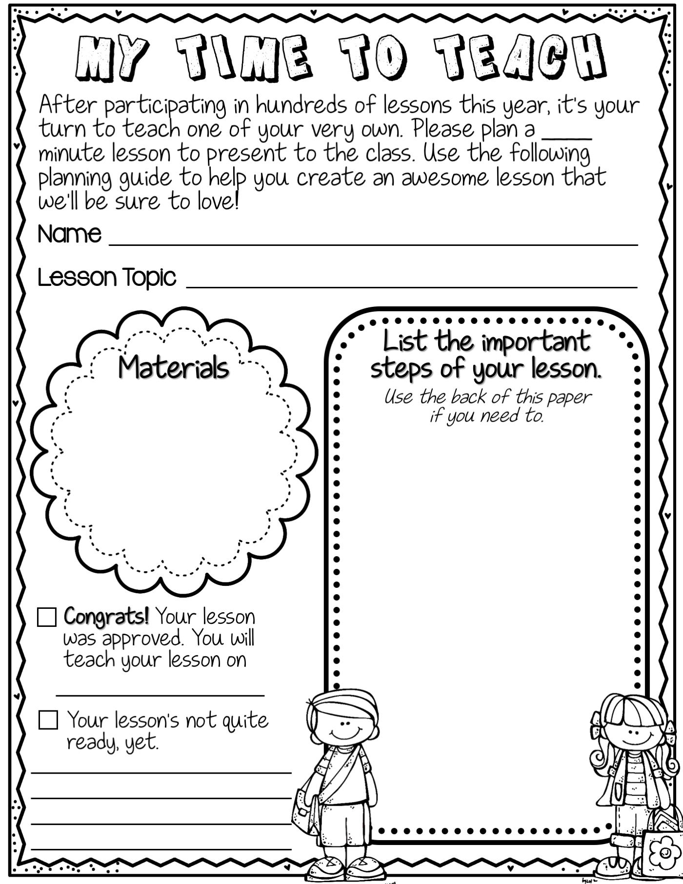 Teacher For A Day Lesson Plan Template First Grade Friends