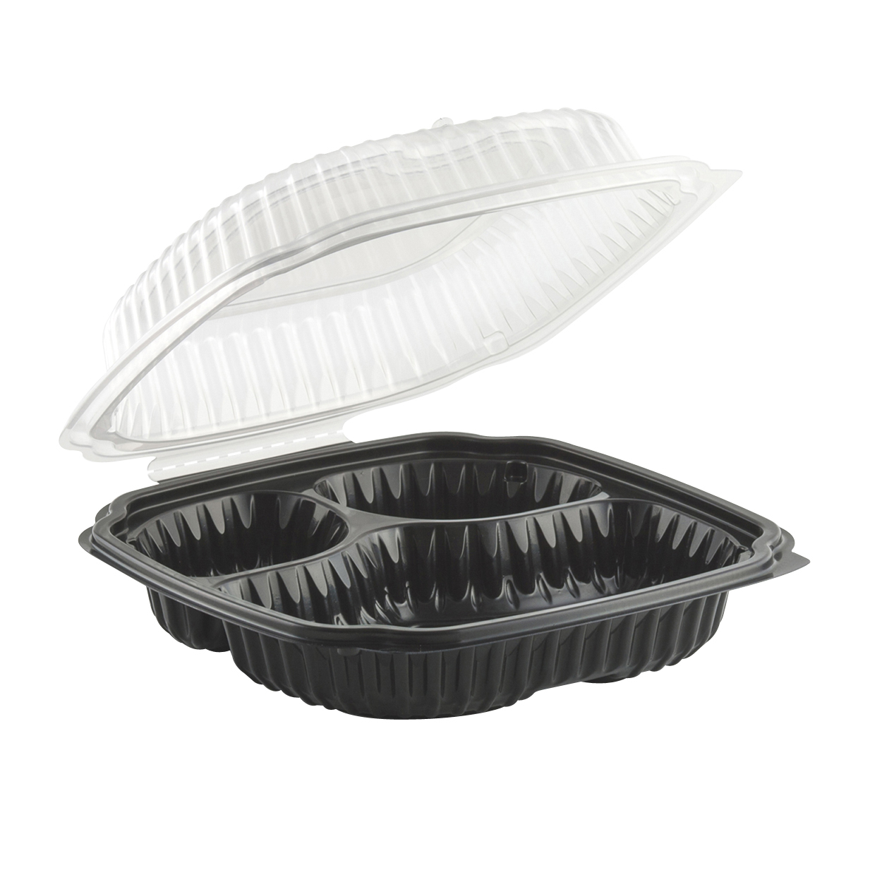 Plastic Hinged Microwavable Container 3 Compartment 9 X9 X3 Black Clear In 2020 Microwavable Containers Hinges Food Wrap