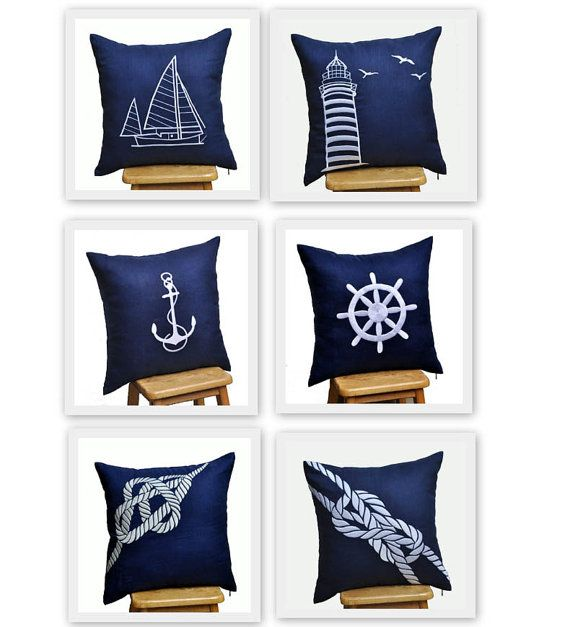 Throw Pillow Covers Nautical Pillows Navy Cover Ship Decor Embroidery Cottage Chic Coastal Fabric
