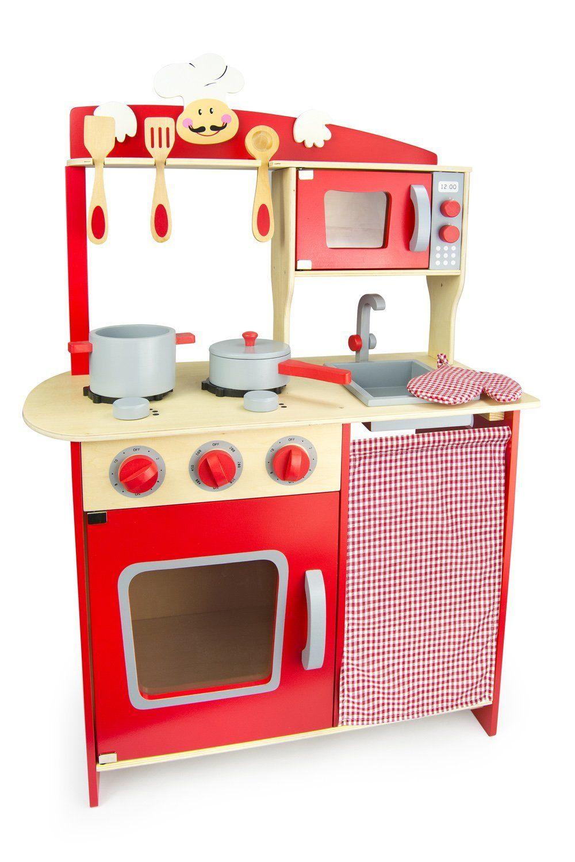 Leomark Spielkuche Kinderkuche Aus Holz Mit Zubehor Chefkuche