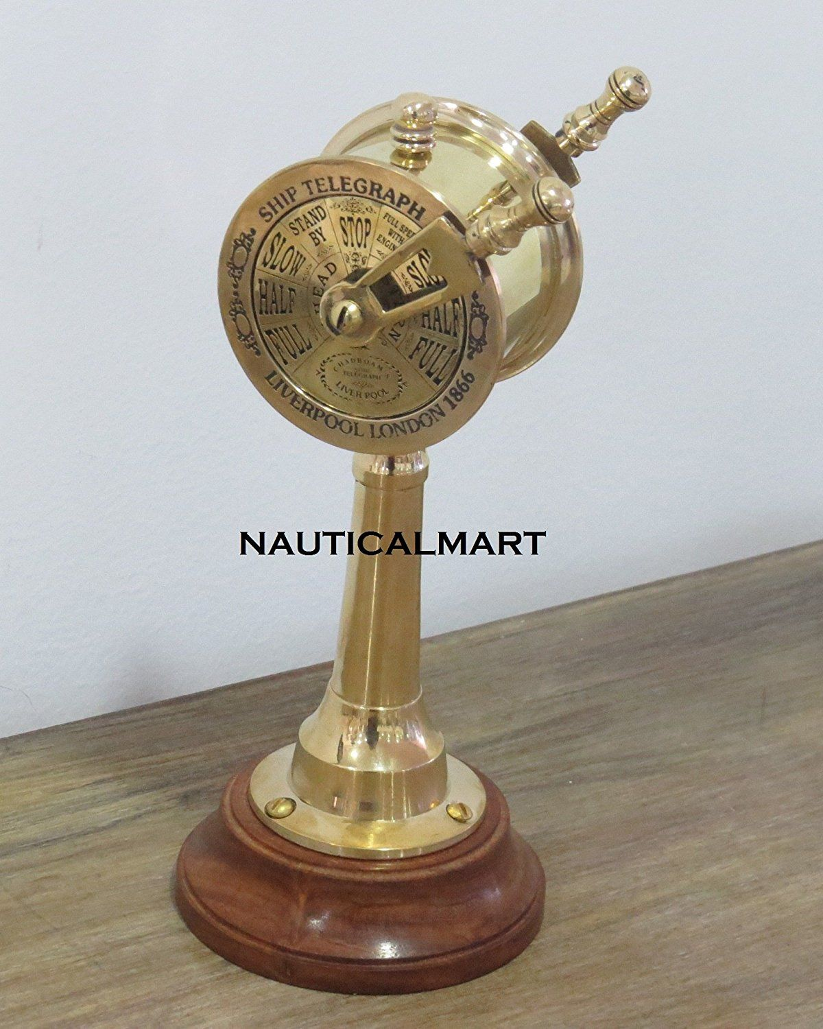 Titanic Engine Room Coal: 7 Inch Full Brass London Ship Telegraph W/Wooden Base By