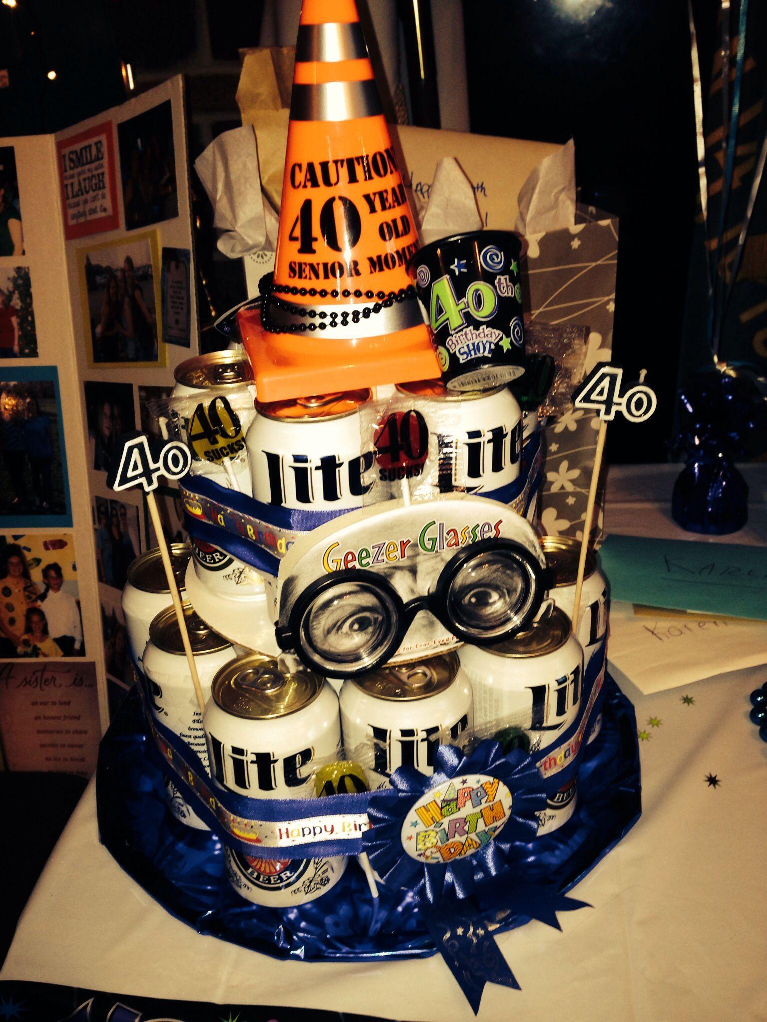40th Birthday Miller Lite Beer Cake Diy Gift Ideas Pinterest