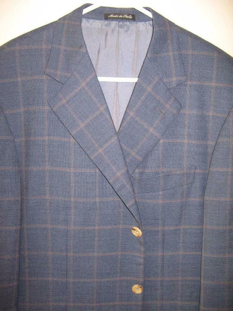 Clothing, Shoes & Accessories Giorgio Armani Black Label Bergdorf's Silk Wool Windowpane Made Italy Blazer 48l Suits & Suit Separates