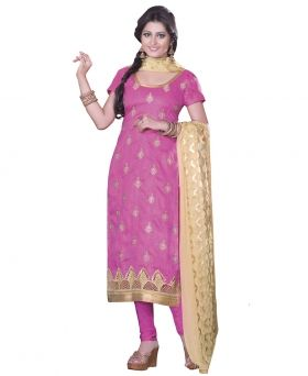 #BuyIndianSalwarKameez at DrapeEthnic. The Sati Pink Coloured Bhagalpuri Kameez come to pink coloured bhagalpuri kameez with zari embroidery, floral work, leaf work, patch border. Read more https://goo.gl/7SCJBF and buy now https://goo.gl/Vy0iU5. Product Code DESK4703A. Availability: In stock. Rs. 3,780