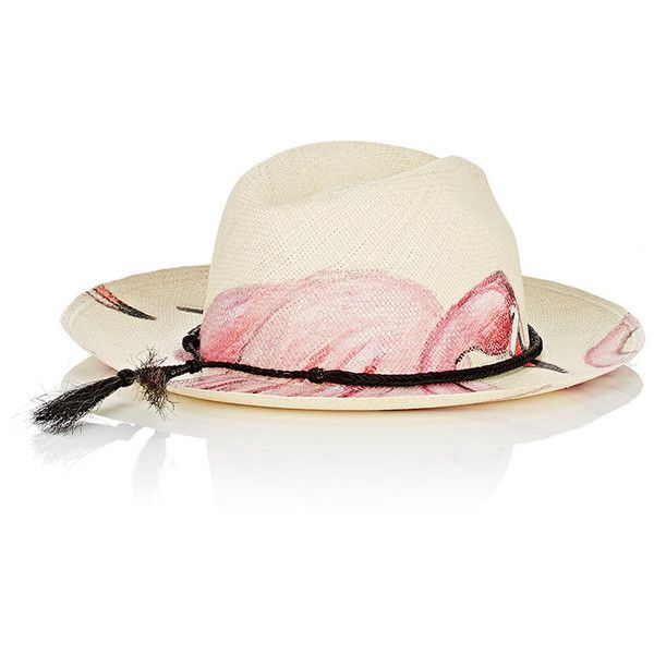 Ibo Maraca Women s Flamingo Hand-Painted Straw Panama Hat ( 375) ❤ liked on  Polyvore featuring accessories d268686f1d