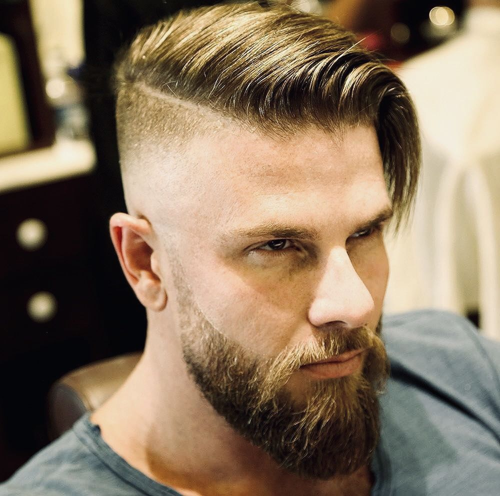 High Rise Skin Fade To 1 5 Hard Part Mens Hairstyles Undercut Beard Hairstyle Undercut With Beard