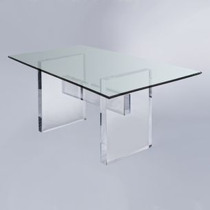 Lucite/Acrylic Glass Dining Tables By Plexi Craft