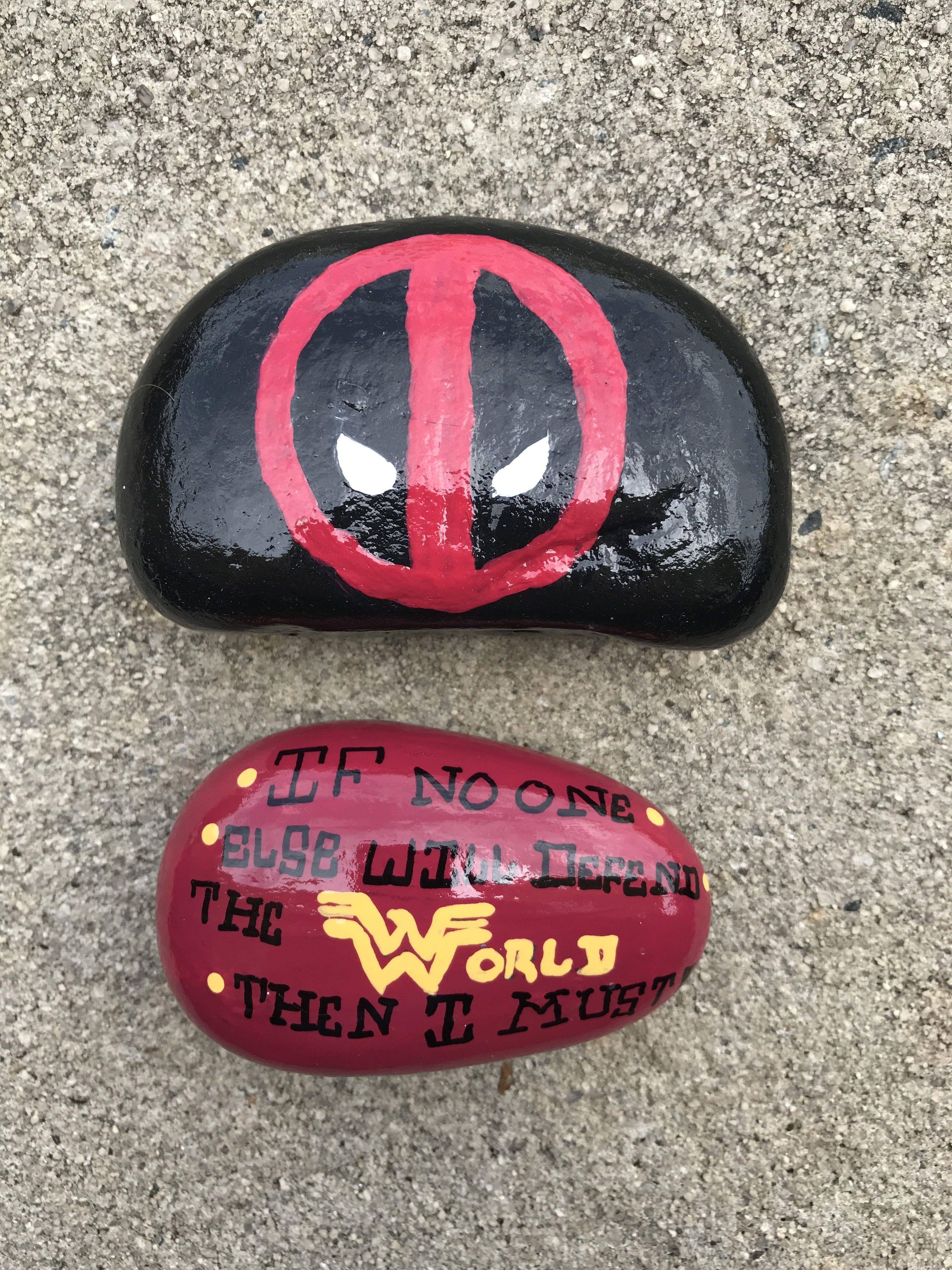 65d9a1831274 Painted Rocks - Deadpool   Wonder Woman