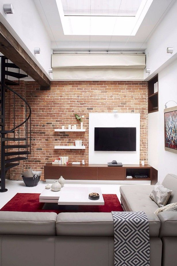 Whats Hot On Pinterest 5 Industrial Lofts 1 Whats Hot On Pinterest 5 Industrial Lofts 1 Living Room Entertainment Units Brick Wall Backdrop Home