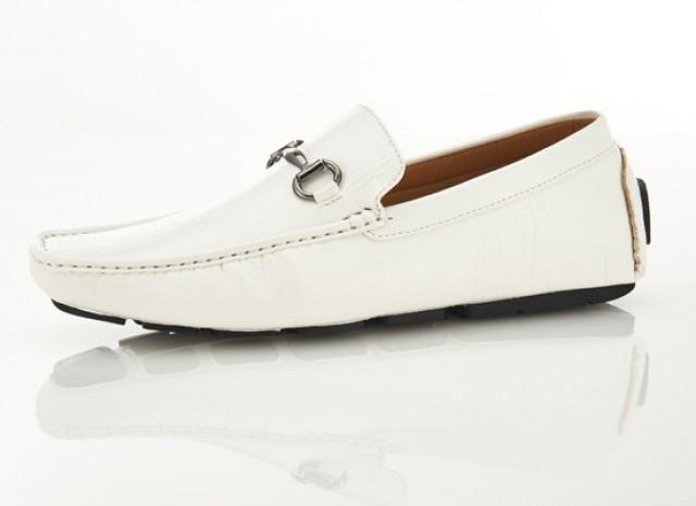 Mens Driver White Horsebit Loafer Shoes
