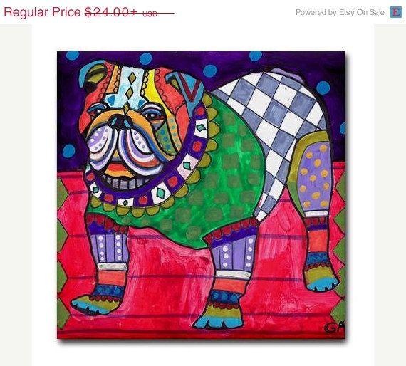dog coasters - Decorative Ceramic Tile - English Bulldog Art Dog-Modern Abstract Print on Coaster Heather Galler Art Cermaic Tiles  Did you