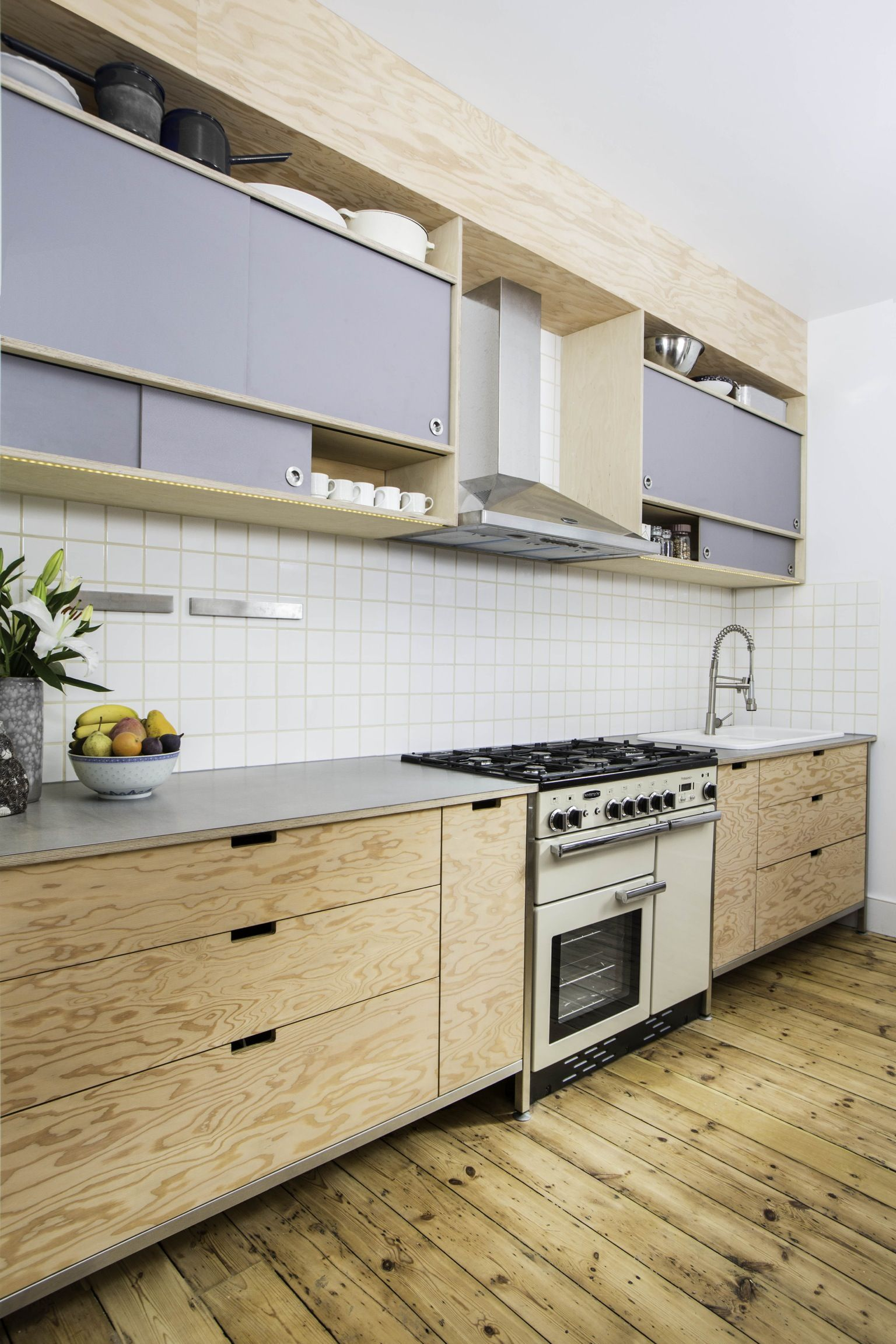Douglas Fir Plywood And Stainless Steel Kitchen Modern Kitchen Set Modern Kitchen Mid Century Modern Kitchen