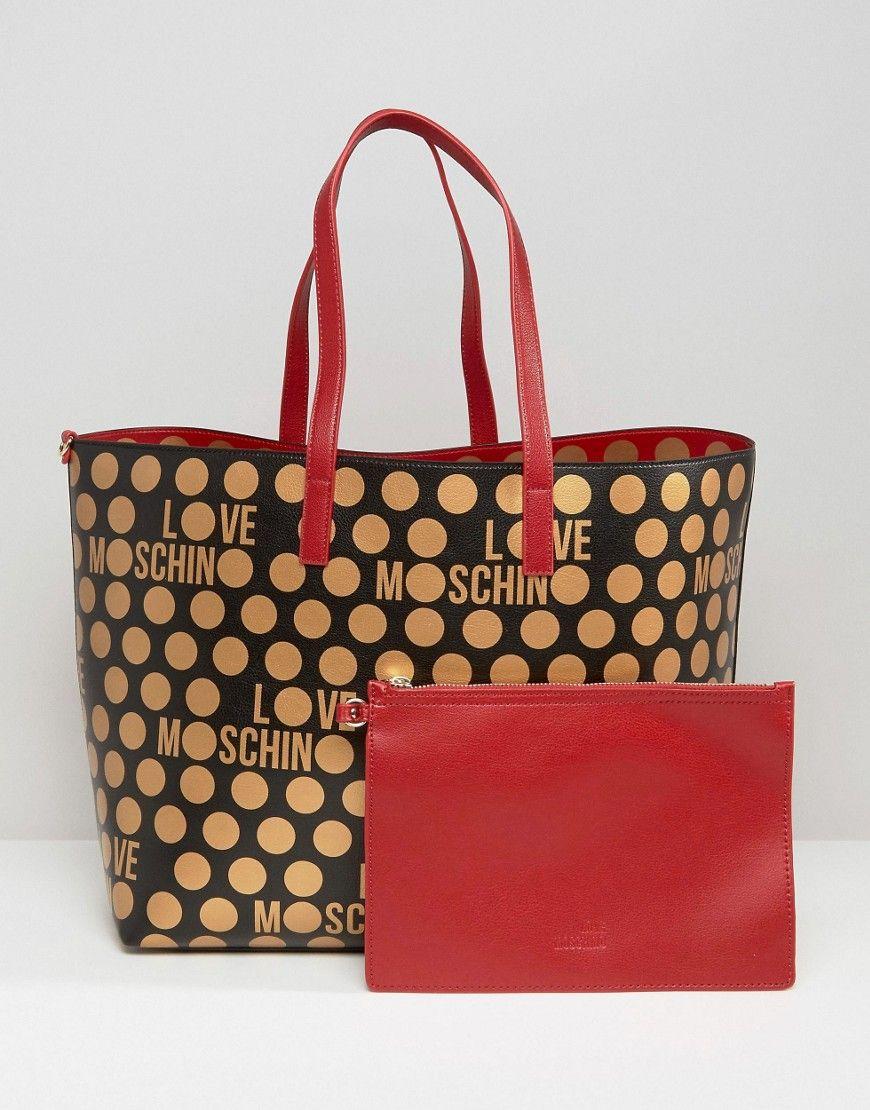 dfa9cb17ea Image 1 of Love Moschino Reversible Spotted Shopper Bag | BAGS ...