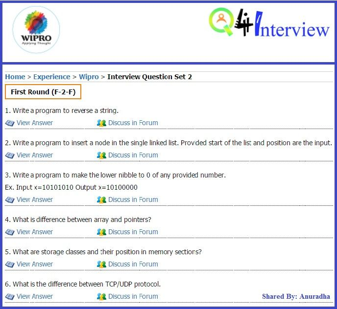 Wipro Interview Questions asked at freshers level Freshers - interview question