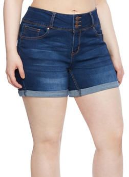 Plus Size WAX Jeans Whisker Wash Denim Shorts with High Rise and Roll Cuffs,DARK WASH