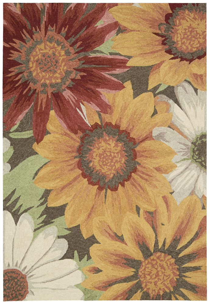 RugStudio presents Nourison South Beach Sou06 Sunflowers Hand-Hooked Area Rug