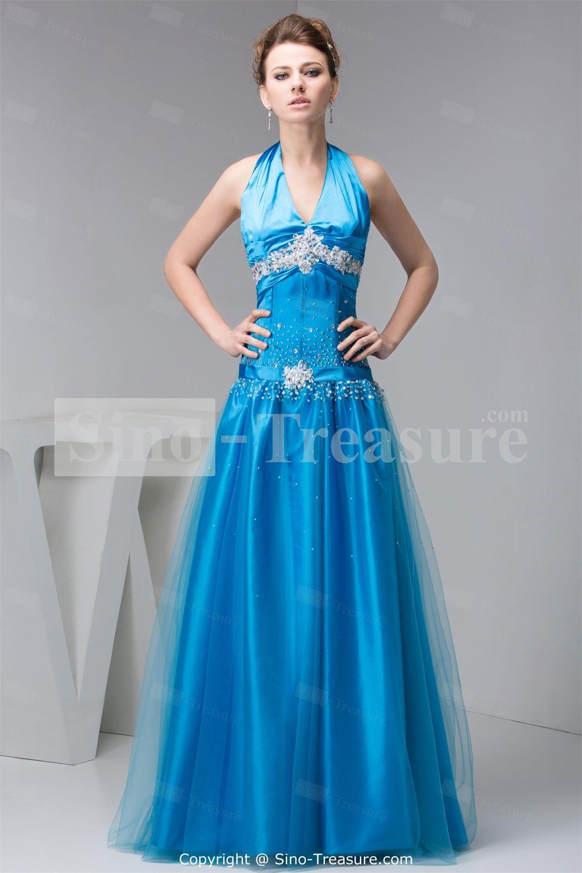 Fantastic Floor-Length Beading Silk-like Satin Evening Dress ...