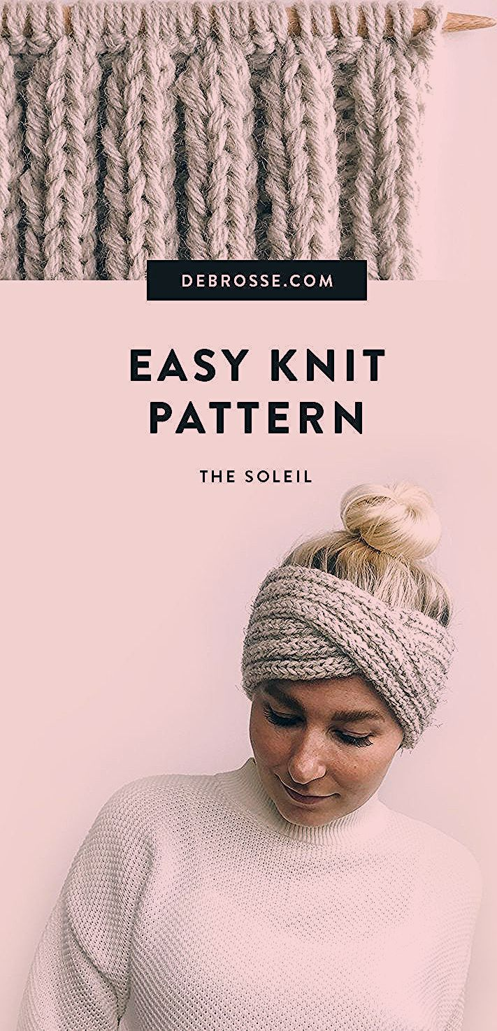 This is a super simple + modern knit headband pattern ...