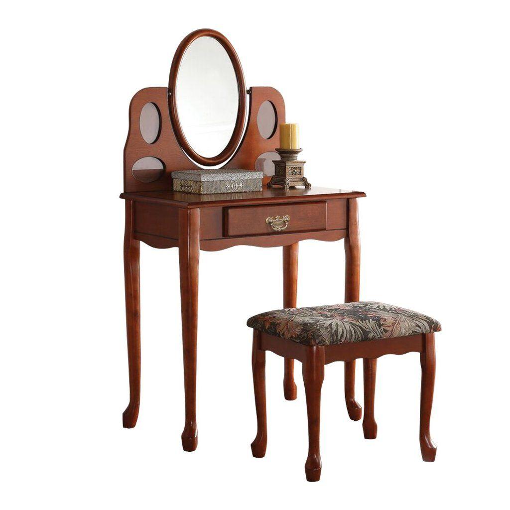 Acme oak aldine vanity set makeup vanities vanity set and
