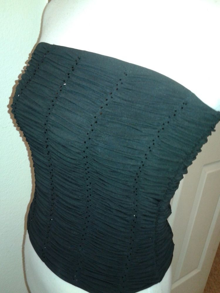 e0b5bd0aff Cache Ladies Elegant Tube Top Black Completely Ruched w tiny bugle beads SZ  M