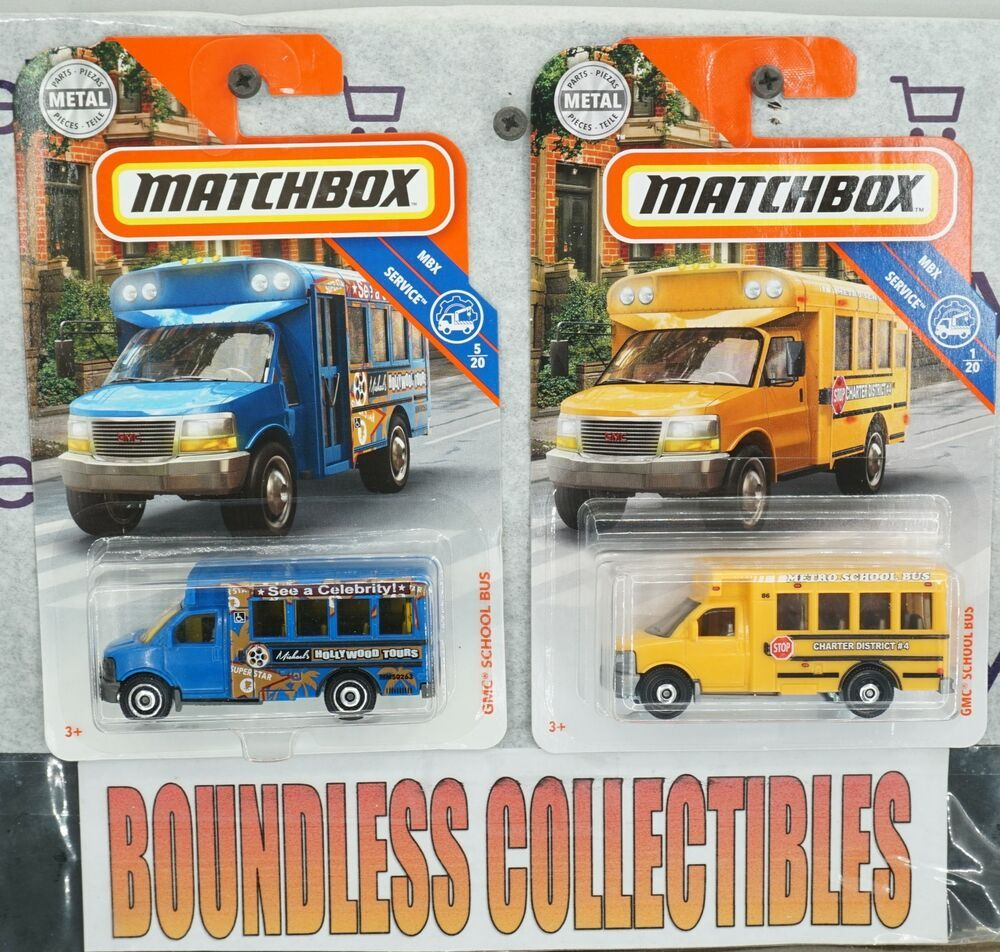 MATCHBOX LOT OF 2 GMC SCHOOL BUS 2019 BLUE MBX SERVICE