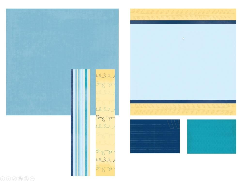 Our Memories for Life BLUE SKIES Collection: 12x12 Designer Cardstock Paper, Designer Refill Pages, Designer Border Strips, and Designer Journal Mounting Cards.