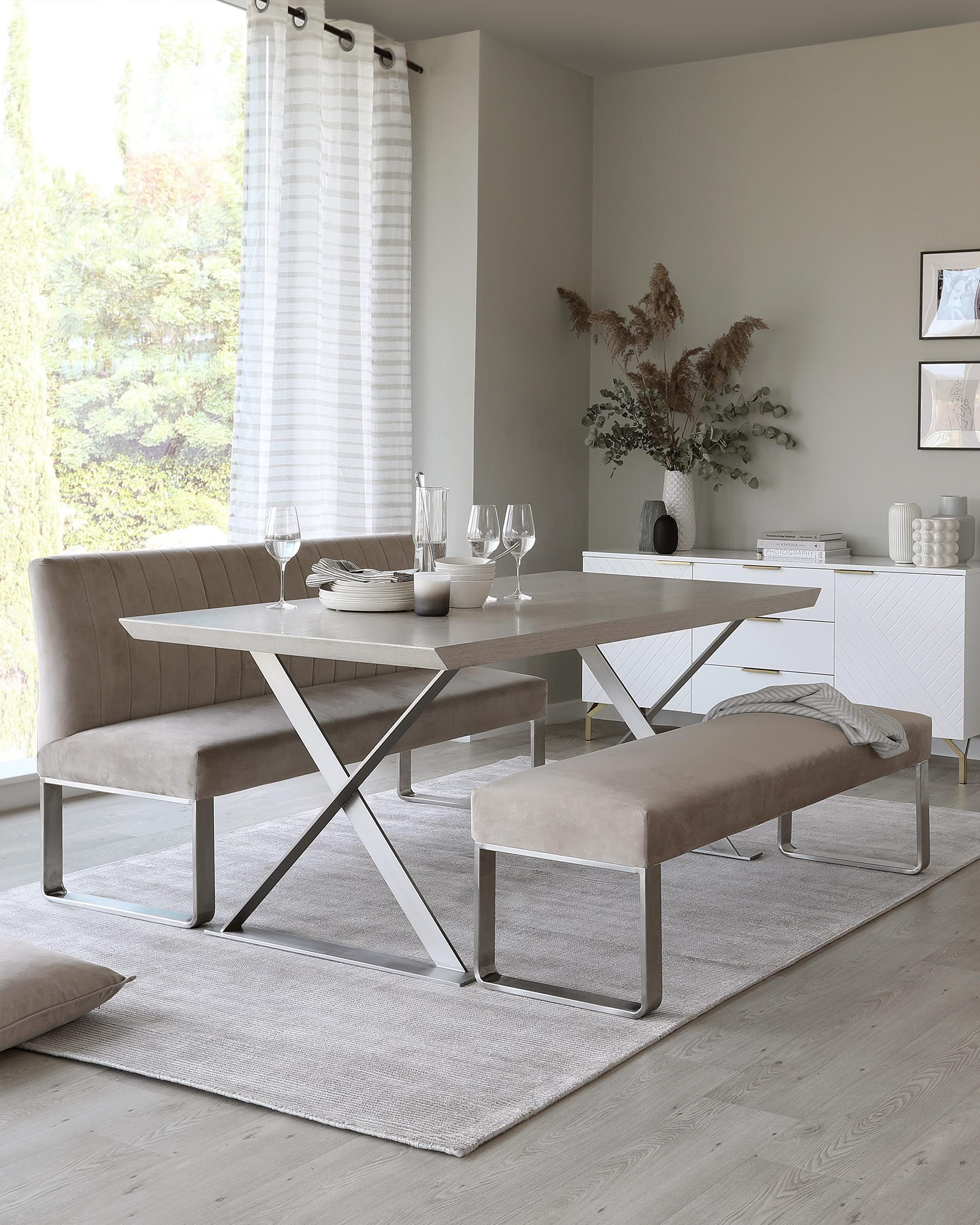 Danetti Nala Grey Oak and Ophelia Dining Bench Set