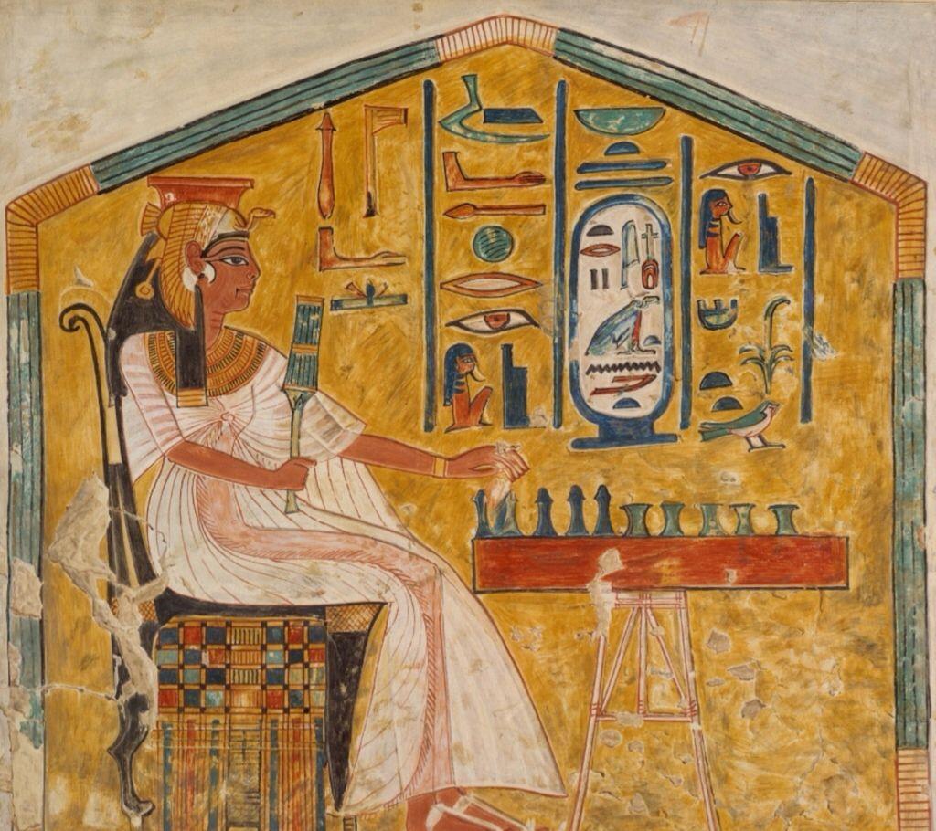 Queen Nefertari Playing Senet, Tomb of Nefertari by Nina de Garis Davies 1279-1213 BC. Metropolitan Museum of Art, New York