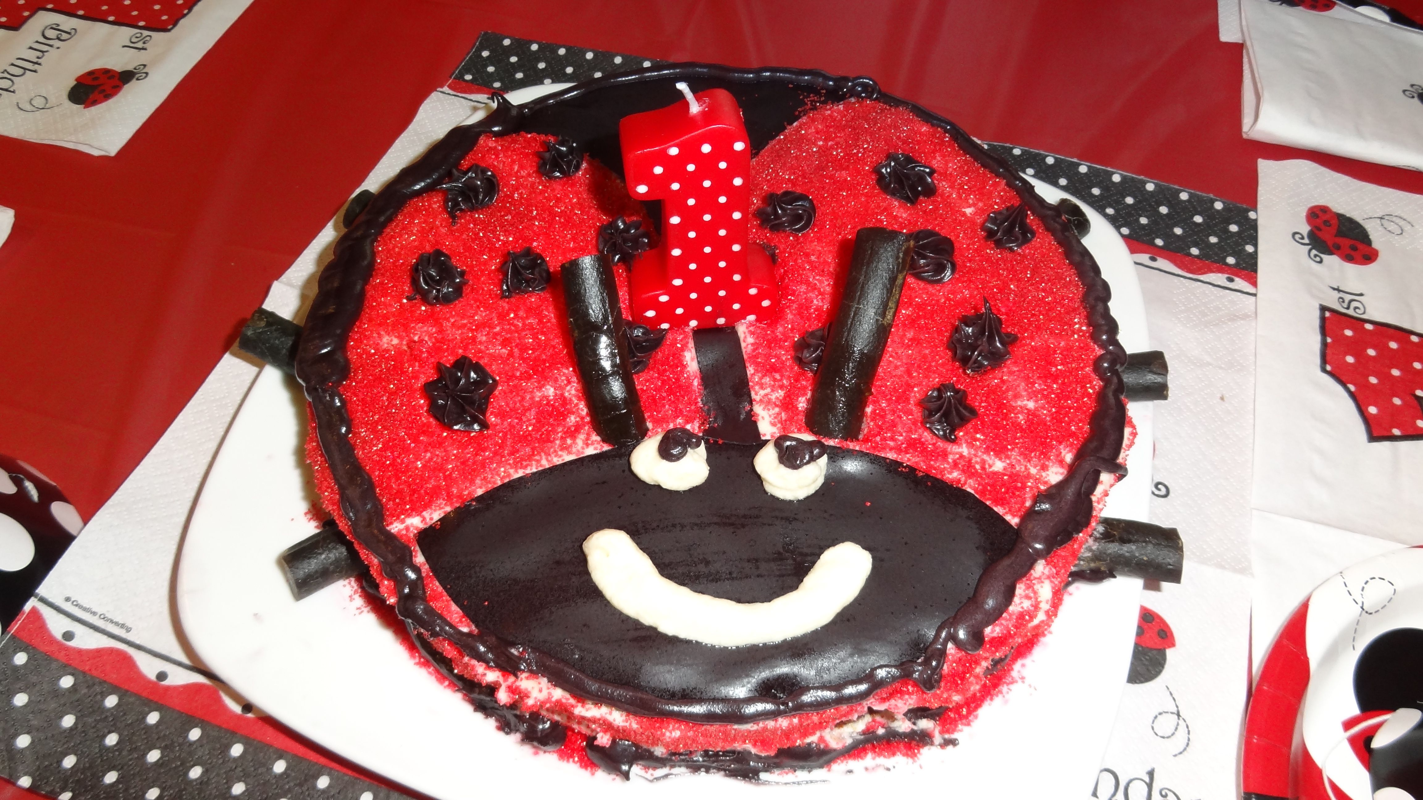 This was the ladybug cake that G-Ma made for our little peanut's 1st Birthday Party! #YoYoBirthday
