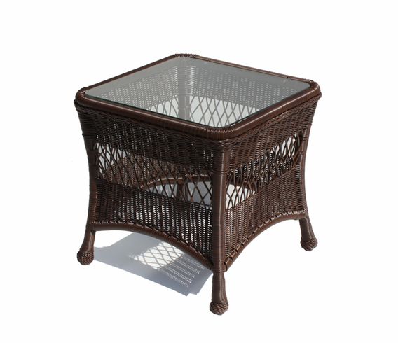 Outdoor Wicker End Table Princeton Shown In Chocolate Brown