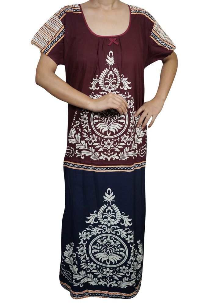 Indiatrendzs Women Cotton Nighty Printed Long Sleepwear Night Gown ...