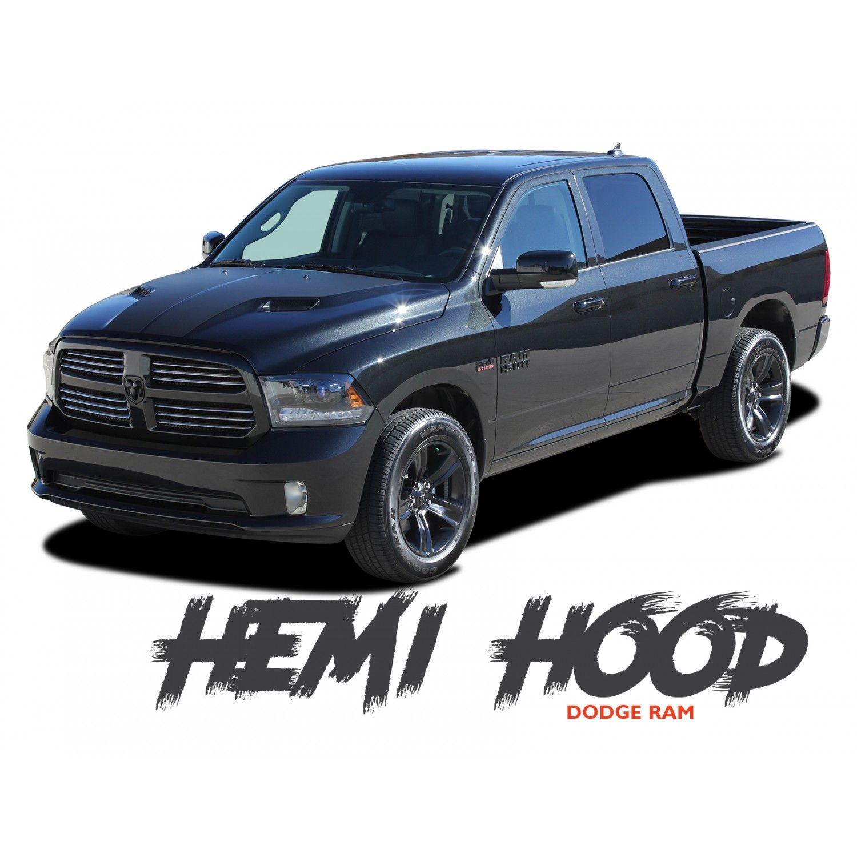 Dodge Ram Hemi Hood Split Hood Center Accent Vinyl Graphics Decal Stripe Kit 2009 2018 Models Vinyl Graphics Dodge Ram Stripe Kit