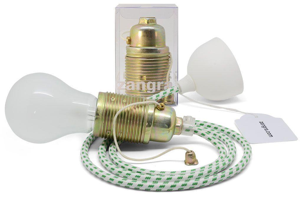 Fil électrique tressé blanc tacheté vert