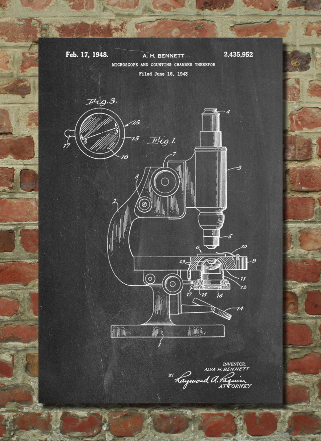 Antique Microscope Patent Poster Pharmacy Gift Science