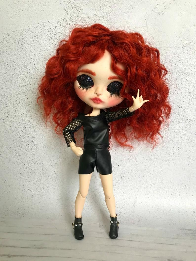 Blythe Doll Custom Ruby Natural Moheir Wig Blythe Dolls