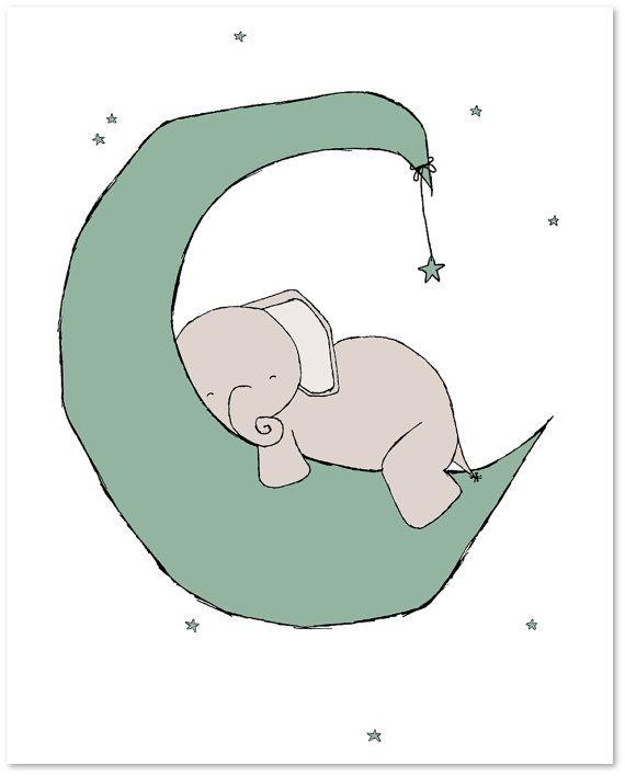 Elefant-Kinderzimmer-Kunst: Eine Reihe von Drucke von Elefanten in ...