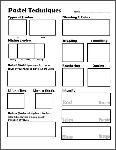 Dry Pastel Techniques Worksheet  Lesson Plan  Art Lessons