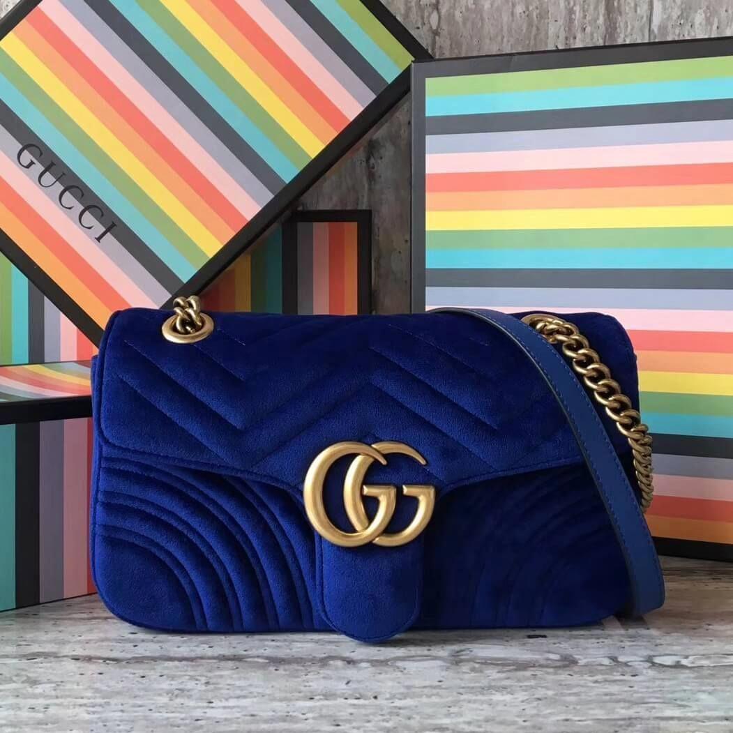 5b031ec639c Gucci GG Marmont Velvet Small Shoulder Bag 443497 Cobalt Blue 2017   Guccihandbags