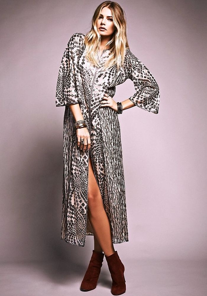 839ad0a2946 NEW Free People Anna Sui silver sequin nude tan Silver Maxi Dress Gown L   444