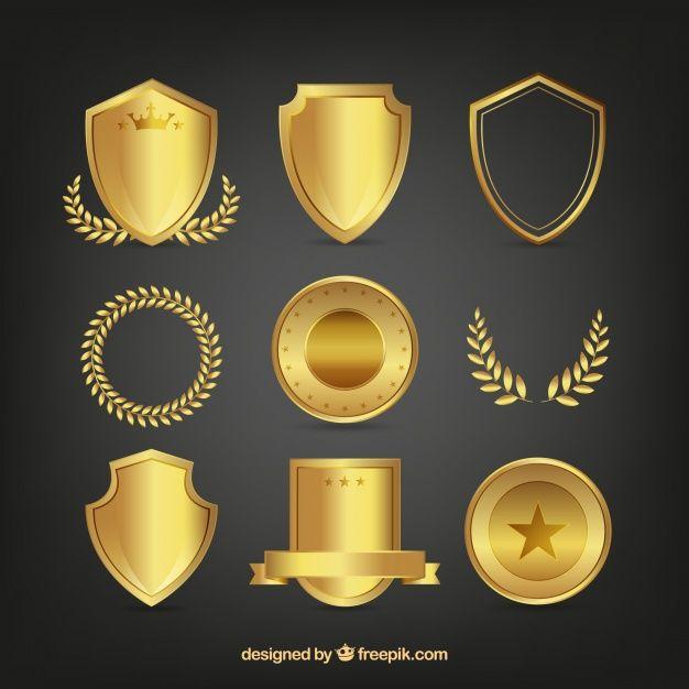 Set Of Golden Shields And Laurel Wreaths Vector Free Certificate Design Template Laurel Wreath